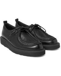 Hender Scheme Tirolean Mesh-trimmed Leather Derby Shoes - Black