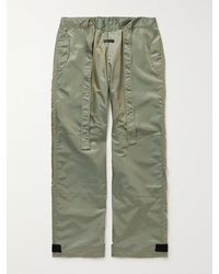 Fear Of God Wide-leg Belted Iridescent Nylon-blend Trousers - Green