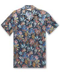 Etro Camp-collar Floral-print Linen Shirt - Blue
