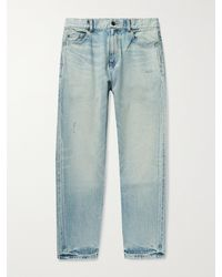 Saint Laurent Slim-fit Tapered Distressed Denim Jeans - Blue