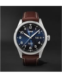 Oris Big Crown Propilot Big Day Date Automatic 44mm Stainless Steel And Leather Watch - Blue