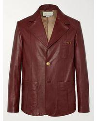Gucci Slim-fit Horsebit Leather Blazer - Multicolour