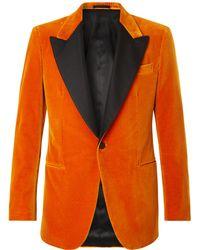 Kingsman - Silk-trimmed Cotton-velvet Tuxedo Jacket - Lyst