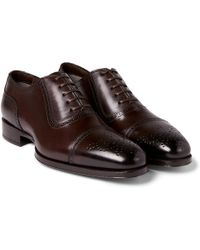 Tom Ford Austin Cap-toe Burnished-leather Oxford Brogues - Brown