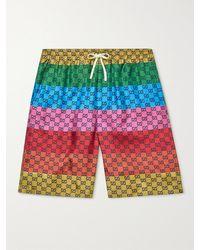 Gucci Wide-leg Mid-length Striped Logo-print Swim Shorts - Multicolour