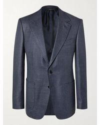 Tom Ford Shelton Slim-fit Puppytooth Wool, Mohair And Silk-blend Blazer - Blue