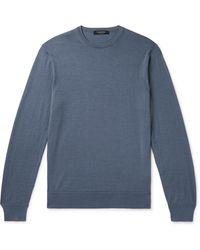Ermenegildo Zegna Slim-fit Cashmere And Silk-blend Jumper - Blue