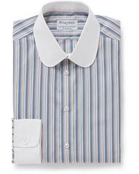 Kingsman Turnbull & Asser Slim-fit Penny-collar Herringbone Cotton Shirt - Blue