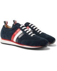 Thom Browne - Low-top Suede And Calf-leather Trainers - Lyst