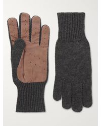 Brunello Cucinelli Perforated Suede-panelled Cashmere Gloves - Grey