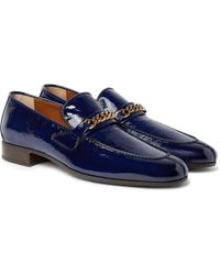 Tom Ford - Peer Chain-trimmed Textured Patent-leather Loafers - Lyst