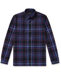 Bellerose Farel Button-down Collar Checked Cotton-flannel Shirt - Blue