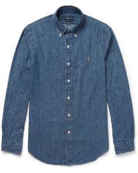 Polo Ralph Lauren - Slim-fit Button-down Collar Washed-denim Shirt - Lyst