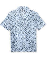 Charvet Camp-collar Printed Cotton-voile Shirt - Blue
