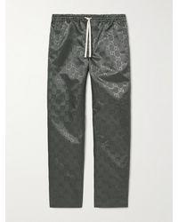 Gucci Logo-jacquard Shell Trousers - Grey