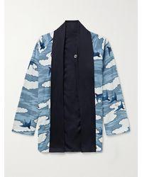 Blue Blue Japan Reversible Printed Chirimen Crepe Jacket - Blue