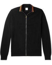 Paul Smith Stripe-trimmed Cashmere Zip-up Cardigan - Black