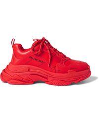 Balenciaga Triple S Clear Sole Sneaker - Red
