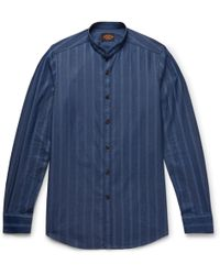 Tod's - Grandad-collar Striped Cotton-chambray Shirt - Lyst