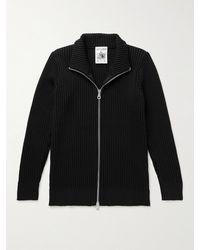 S.N.S. Herning Fang Iv Ribbed Virgin Wool Zip-up Cardigan - Black