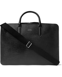 Smythson Panama Cross-grain Leather Briefcase - Black