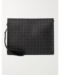 Dunhill Leather-trimmed Logo-print Coated-canvas Pouch - Black