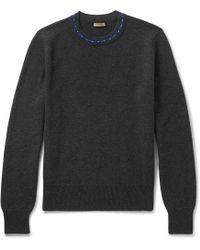 Bottega Veneta | Contrast-trimmed Wool And Cashmere-blend Sweater | Lyst