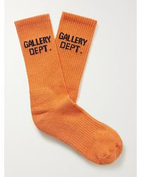 GALLERY DEPT. Clean Logo-jacquard Tie-dyed Recycled Cotton-blend Socks - Orange
