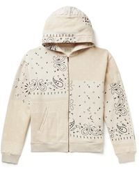 Kapital Bandana-print Cotton-jersey And Quilted Shell Zip-up Hoodie - Natural
