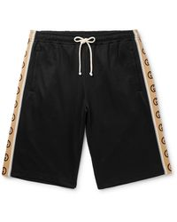 Gucci Wide-leg Logo-jacquard Webbing-trimmed Tech-jersey Drawstring Shorts - Black
