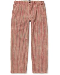 Stussy - Logo-embroidered Tie-dyed Cotton-twill Trousers - Lyst