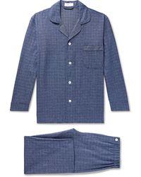 Emma Willis Prince Of Wales Checked Cotton Pyjama Set - Blue