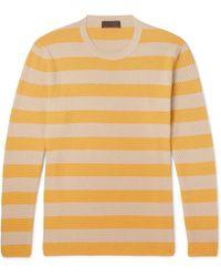 Altea - Striped Textured-cotton Jumper - Lyst