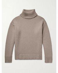 Deveaux Justin Ribbed Wool And Cashmere-blend Rollneck Jumper - Brown