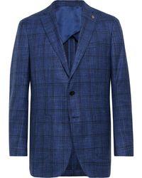 Peter Millar Navy Napoli Checked Wool, Silk And Linen-blend Blazer - Blue