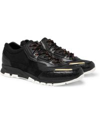 Lanvin - Mesh, Suede And Textured-leather Trainers - Lyst
