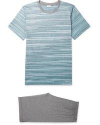 Zimmerli Striped Cotton-jersey Pyjama Set - Blue