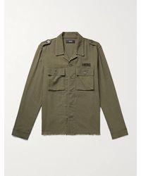 Amiri Logo-appliquéd Distressed Herringbone Cotton And Cashmere-blend Shirt - Green
