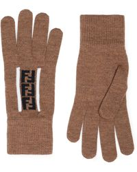 Fendi Logo-jacquard Virgin Wool Gloves - Brown