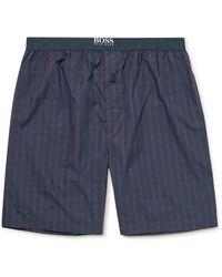 BOSS by HUGO BOSS Checked Cotton-poplin Pajama Shorts - Blue