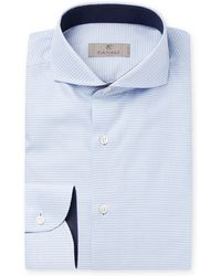 Canali - Light-blue Slim-fit Cutaway-collar Puppytooth Cotton Shirt - Lyst