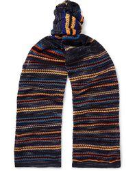 Missoni Striped Crochet-knit Cotton-blend Scarf - Blue