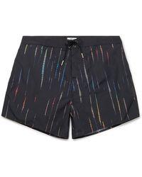 Saint Laurent Mid-length Tie-dyed Swim Shorts - Black