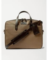 Polo Ralph Lauren Leather-trimmed Canvas Briefcase - Brown