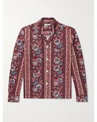 Bode Louie Camp-collar Floral-print Cotton Shirt - Red