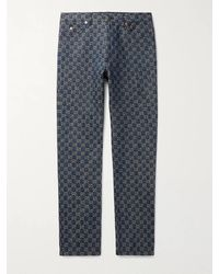 Gucci Leather-trimmed Logo-jacquard Denim Jeans - Blue