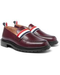 Thom Browne - Grosgrain-trimmed Leather Penny Loafers - Lyst