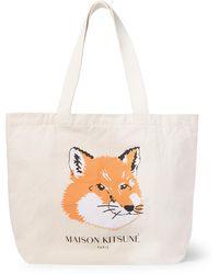Maison Kitsuné Logo-print Cotton-canvas Tote Bag - White