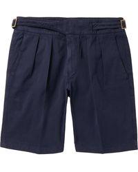 Rubinacci Manny Garment-dyed Pleated Cotton-twill Shorts - Blue