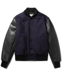 Golden Bear | Virgin Wool-blend And Leather Bomber Jacket | Lyst